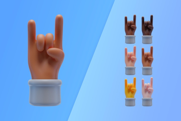 3d collection with hands making rock and roll sign Free Psd