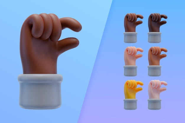 3d collection with hands making small sign Free Psd