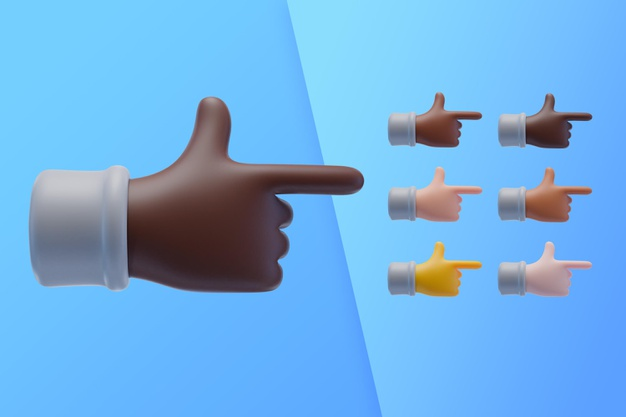 3d collection with hands pointing index finger to side Free Psd