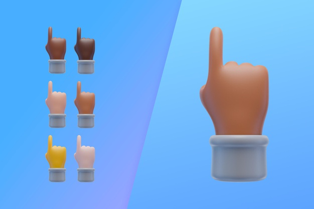 3d collection with hands pointing index finger up Premium Psd