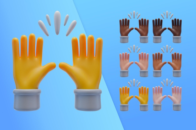 3d collection with hands praising Free Psd