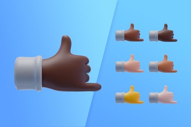 3d collection with hands showing cool sign Free Psd