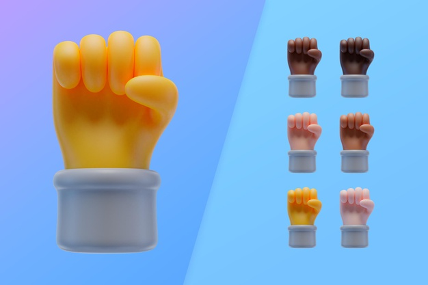 3d collection with hands showing fist Free Psd