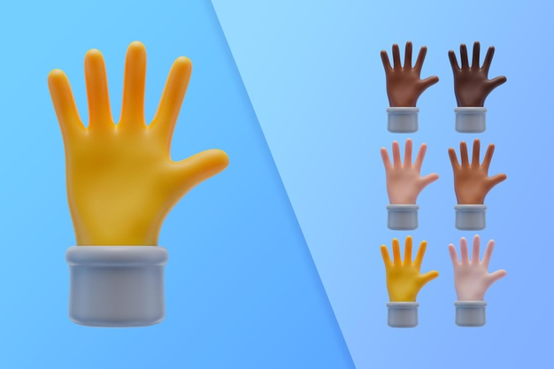3d collection with hands showing palms Free Psd