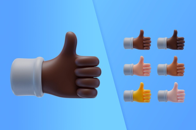 3d collection with hands showing thumbs up Free Psd