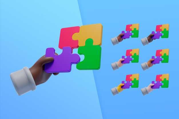 3d collection with hands using puzzle pieces Free Psd