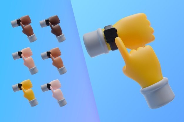 3d collection with hands with wristwatch Free Psd