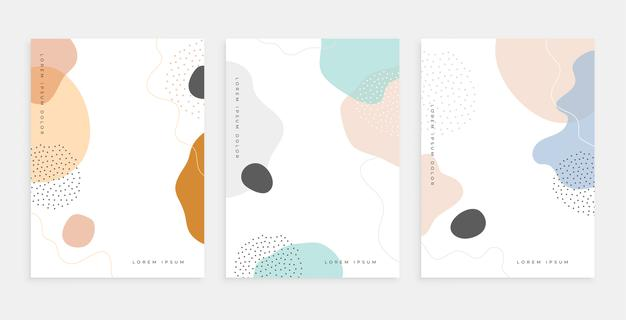 Abstract fluid shape memphis style poster design templates Free Vector