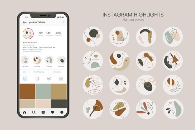Abstract hand drawn instagram highlights Free Vector
