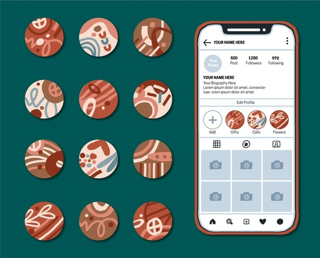 Abstract instagram highlights collection Free Vector