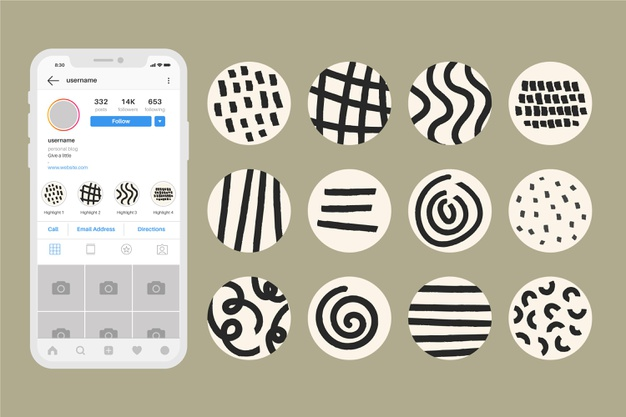 Abstract instagram highlights set Free Vector