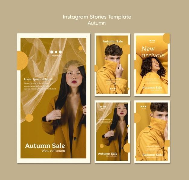 Autumn sale instagram stories template Free Psd