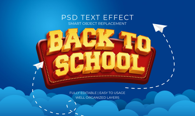 Back to school gold and red text effect Premium Psd