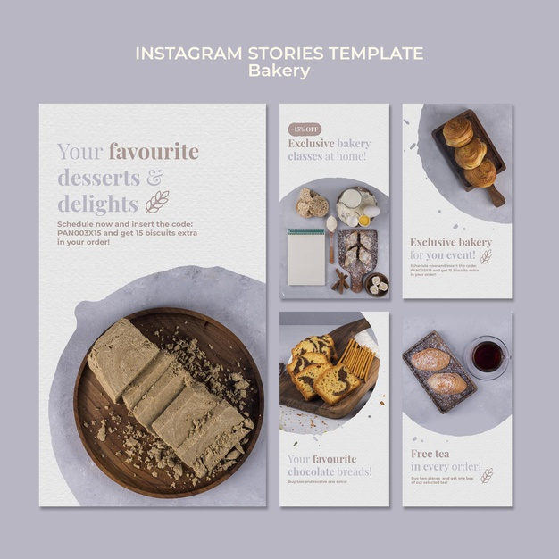 Bakery ad instagram stories template Free Psd