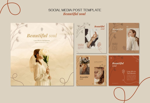 Beautiful soul ad social media post template Premium Psd