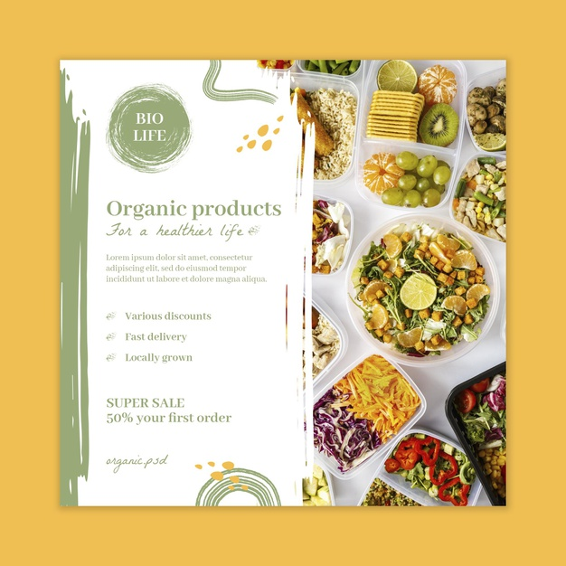 Bio and healthy food squared flyer Free Vector