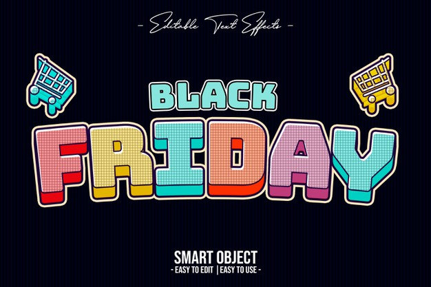 Black friday color text style effect Premium Psd