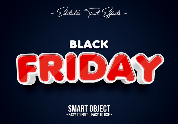 Black friday text style effect Premium Psd