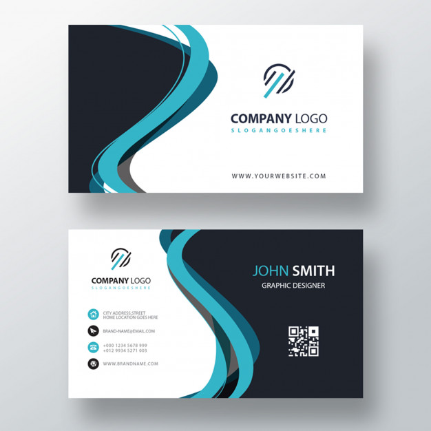 Blue abstract shape business card template Free Psd