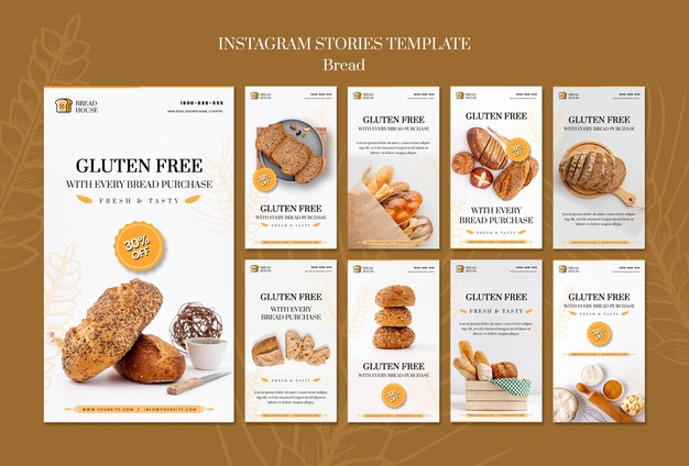 Bread concept instagram stories template Free Psd