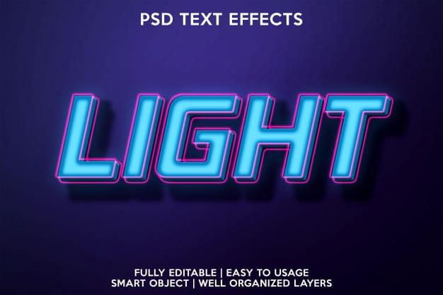 Bright text effect Premium Psd