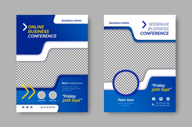 Business flyer template with transparent space for photo Free Vector