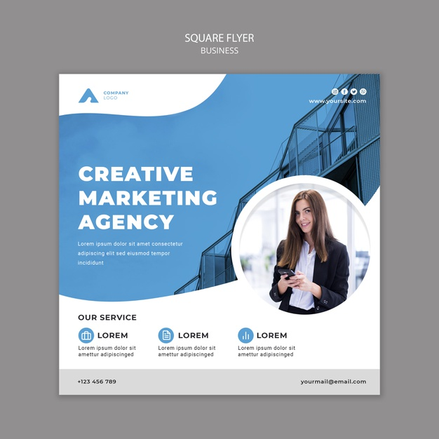Business square flyer template with photo Free Psd