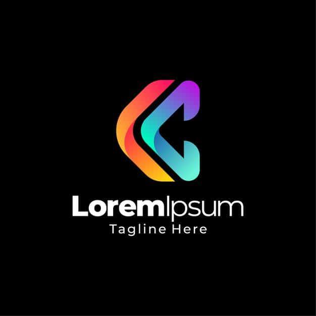 C letter gradient logo template design Premium Vector