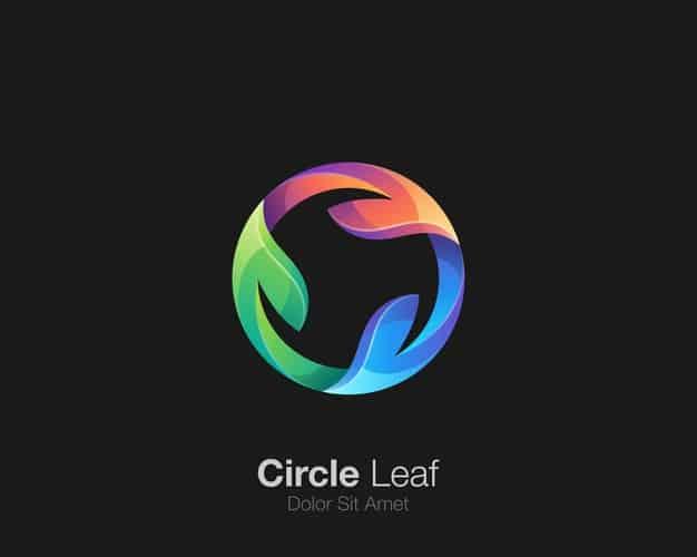 Circle leaf logo Premium Vector