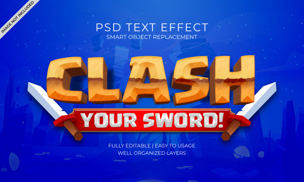 Clash game text effect Premium Psd