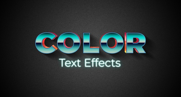Color text style effect template Premium Psd