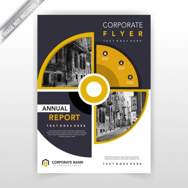 Creative circular flyer design template Free Vector