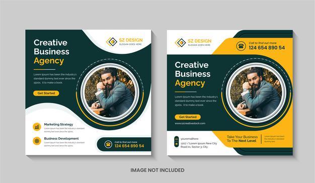 Creative digital marketing agency social media post design template square flyer or editable web banner Premium Vector
