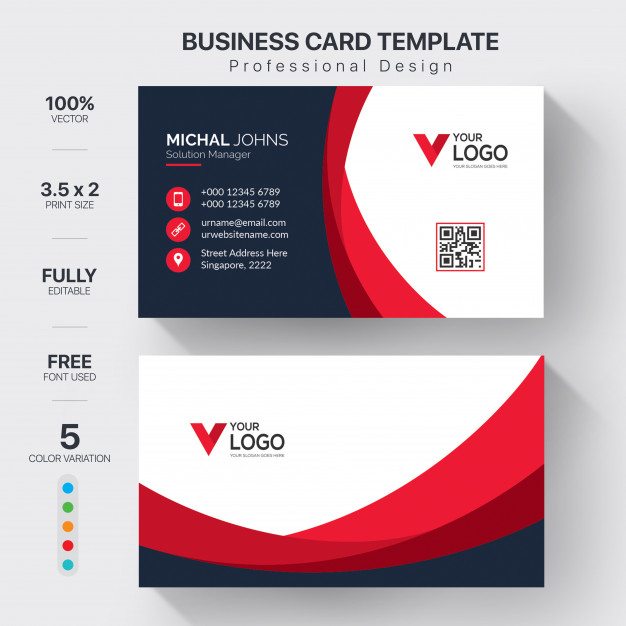 Creative visit cards with color variation Free Vector