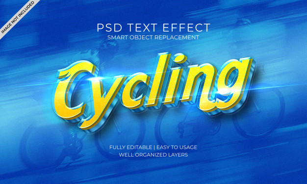 Cycling speed blue and yellow text effect template Premium Psd
