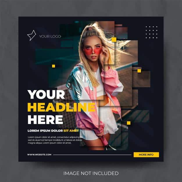 Dark dynamic fashion sale instagram social media post feed template Premium Psd