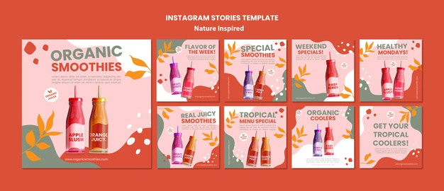 Delicious organic smoothies social media post template Free Psd