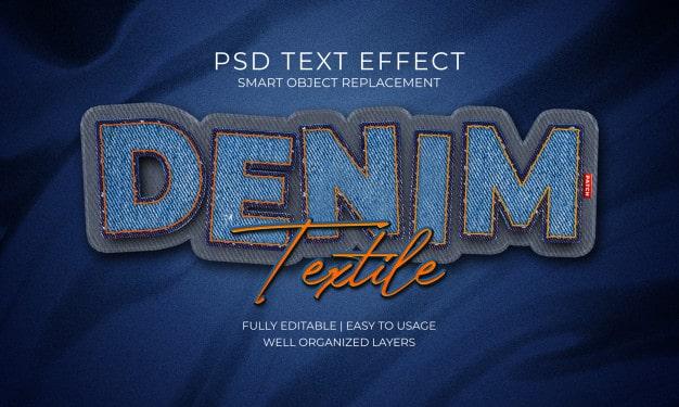 Denim textile patch text effect Premium Psd