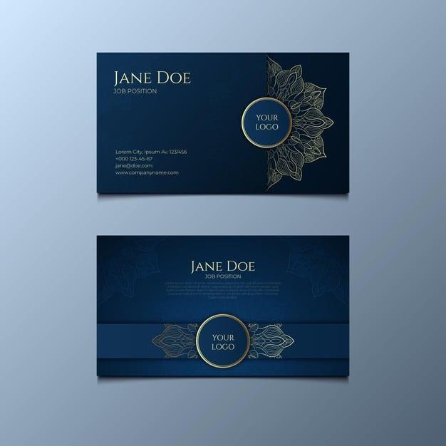 Detailed mandala business card Free Vector
