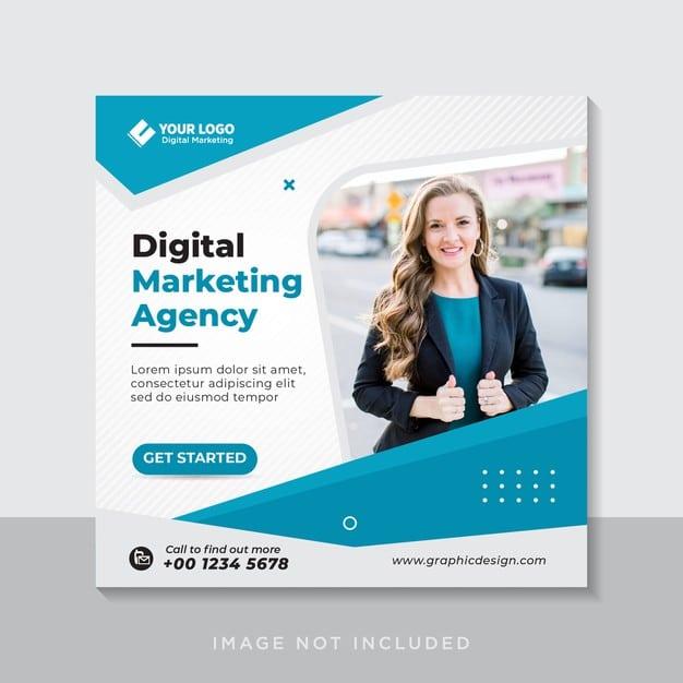 Digital business marketing social media banner or square flyer Premium Vector