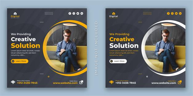 Digital marketing agency and corporate creative solution business flyer, square social media instagram post or web banner template Premium Vector