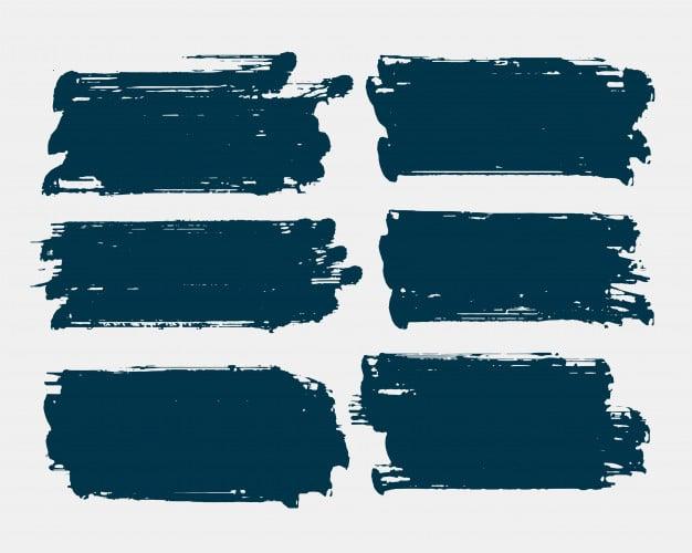 Dirty rectangle shape grunge brush stroke set Free Vector
