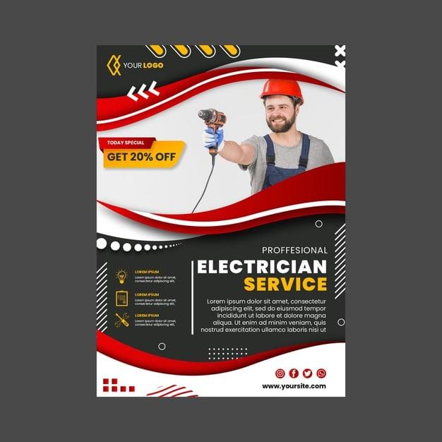 Electrician vertical flyer template Free Vector