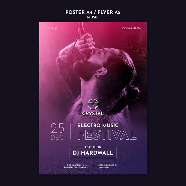 Electro music festival poster template Free Psd