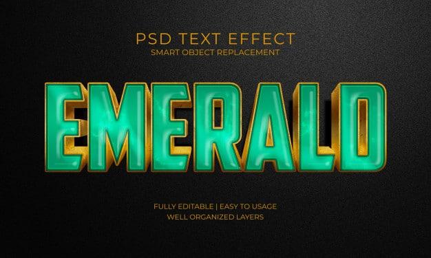 Emerald green stone text effect Premium Psd