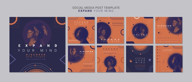 Expand your mind social media post template Free Psd