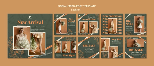 Fashion model social media posts Premium Psd