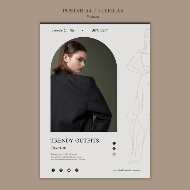 Fashion print template with photo Free Psd