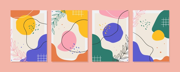 Flat abstract art cover collection Free Vector