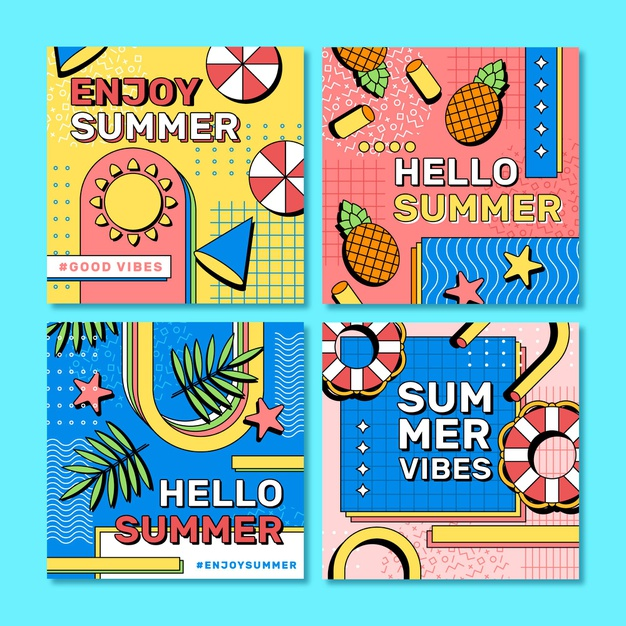 Flat summer instagram posts collection Premium Vector